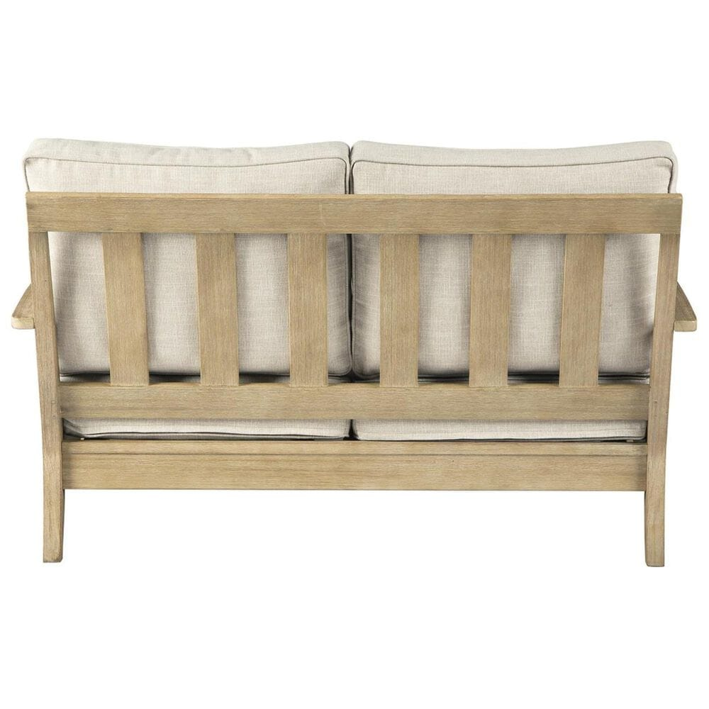 Signature Design by Ashley Clare View Loveseat with Beige Cushion in Antique Teak, , large