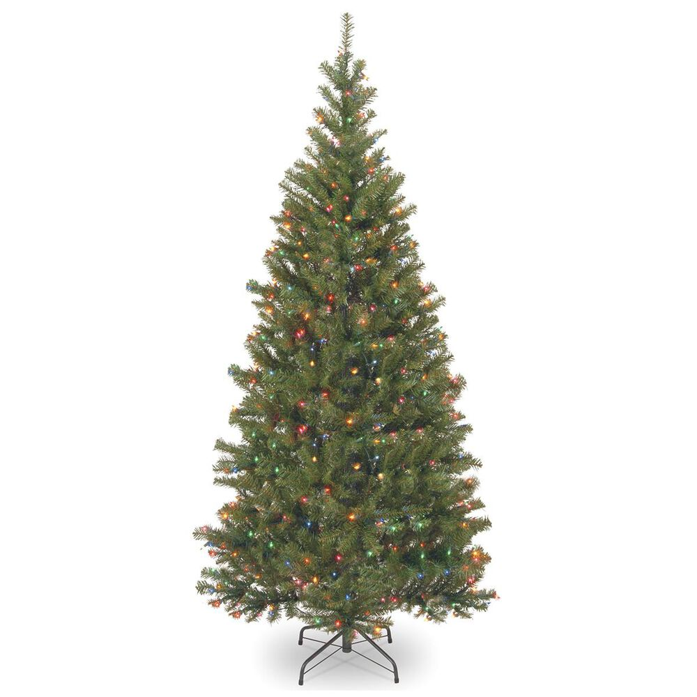 """National Tree 7.5"""" Aspen Spruce Hinged Tree with 450 Multicolor Lights, , large"""