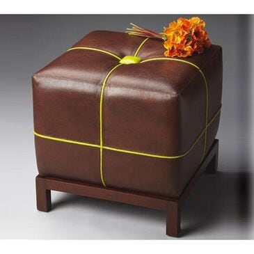 Butler Leather Bunching Ottoman with Contrasting Welt, , large