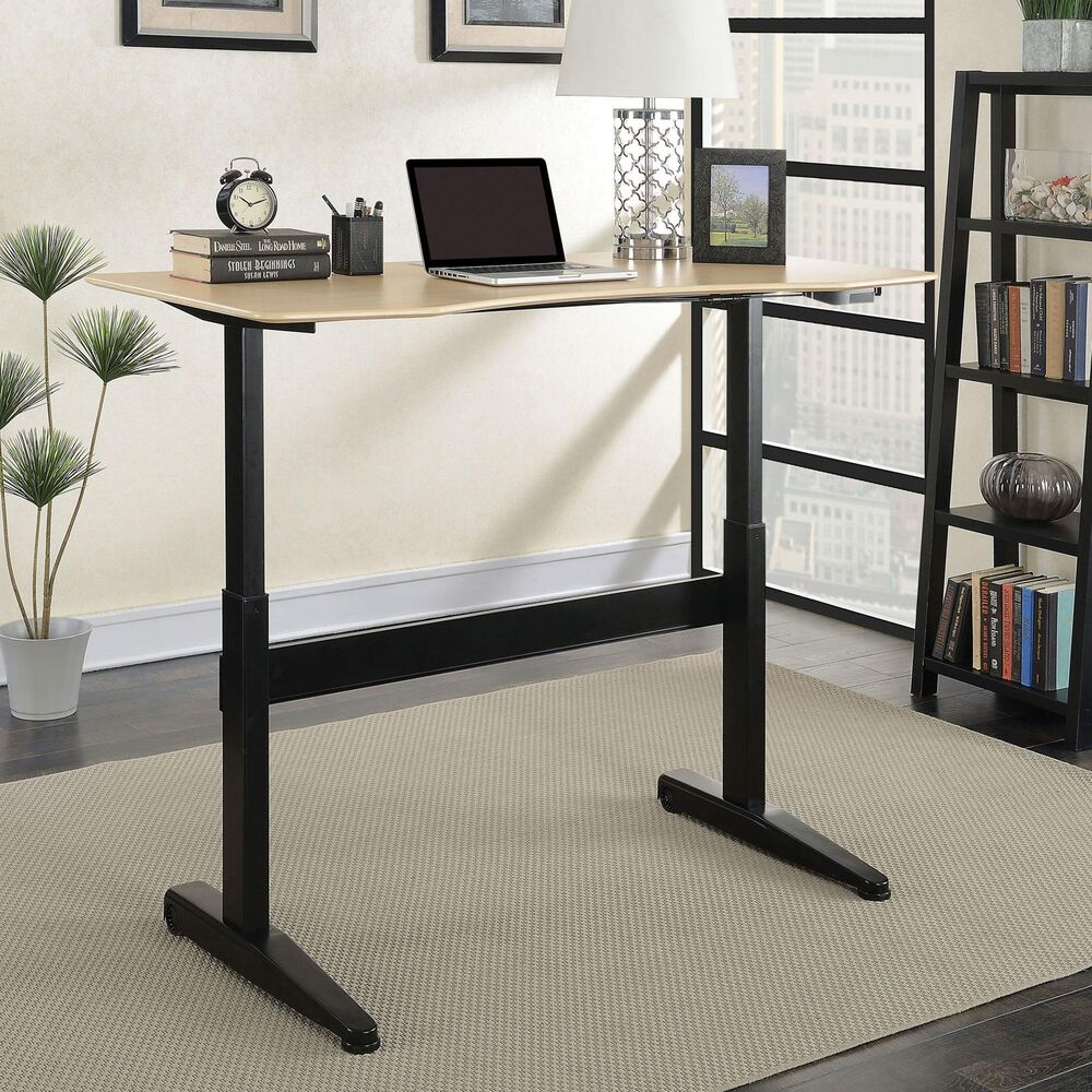 Furniture of America Pope Large Lift Computer Table in Black/Oak, , large