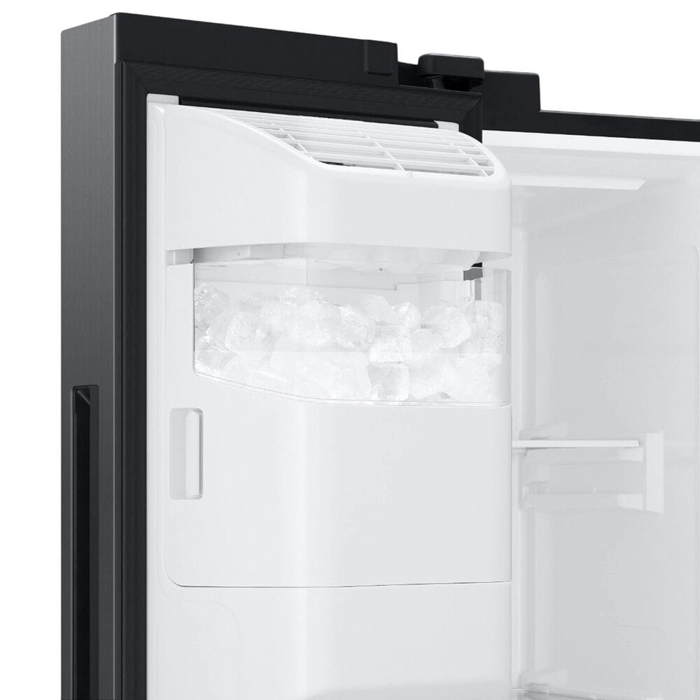Samsung 22 Cu. Ft. Side by Side Refrigerator with Touch Screen Family Hub in Black Stainless Steel, , large