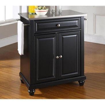 Crosley Furniture Cambridge Stainless Steel Top Portable Kitchen Island in Black, , large