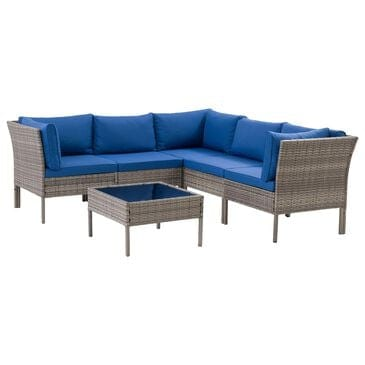 CorLiving Parksville 6-Piece Patio Sectional Set in Blended Grey/Oxford Blue, , large