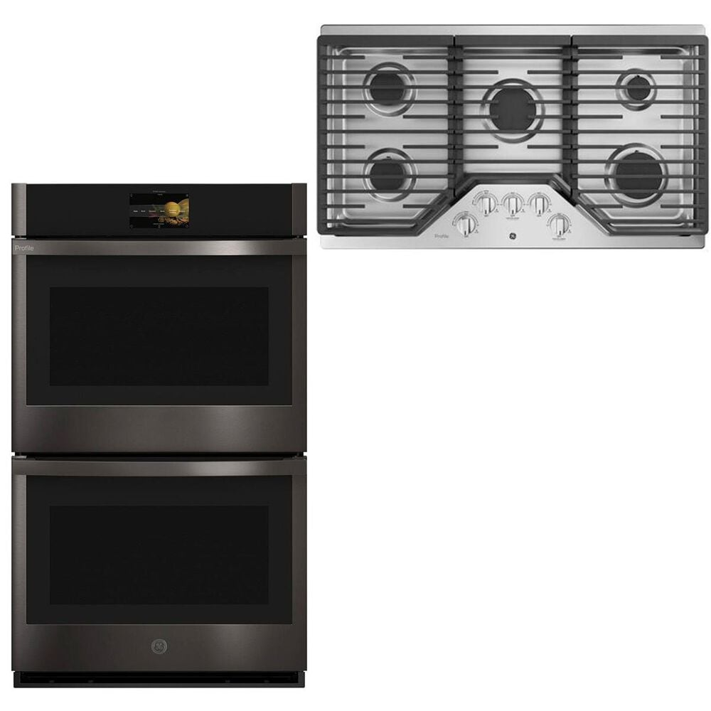 """GE Profile 36"""" Gas Cooktop with 30"""" Built-In Convection Double Wall Oven in Black Stainless Steel, , large"""