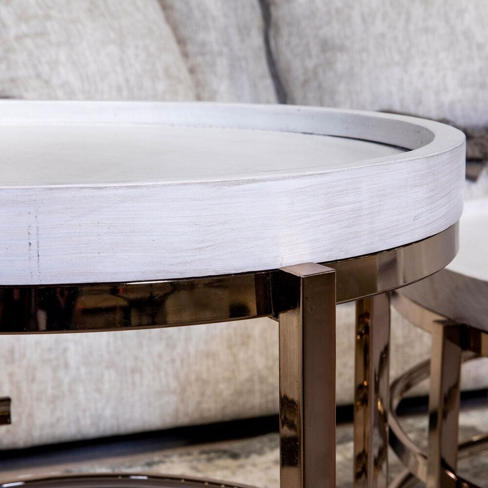 Signature Design by Ashley Montiflyn End Table in White and Gold Tone, , large