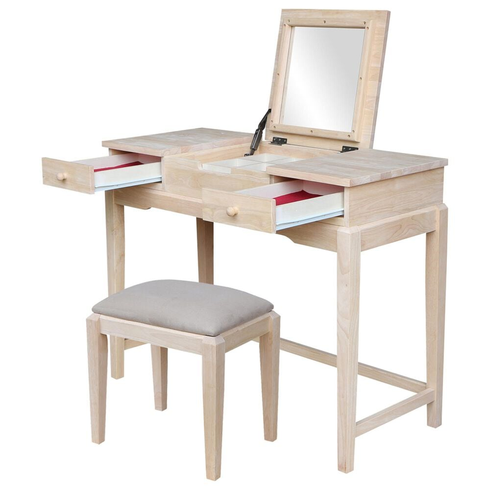 International Concepts Vanity Table with Bench in Unfinished, , large