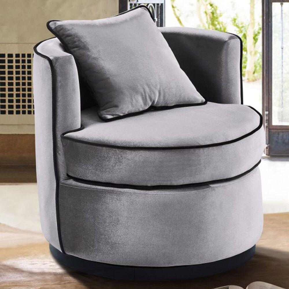 Blue River Truly Swivel Chair in Grey Velvet , , large