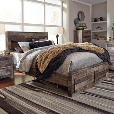 Signature Design by Ashley Derekson Queen Storage Bed in Two Tone Walnut and Gray, , large