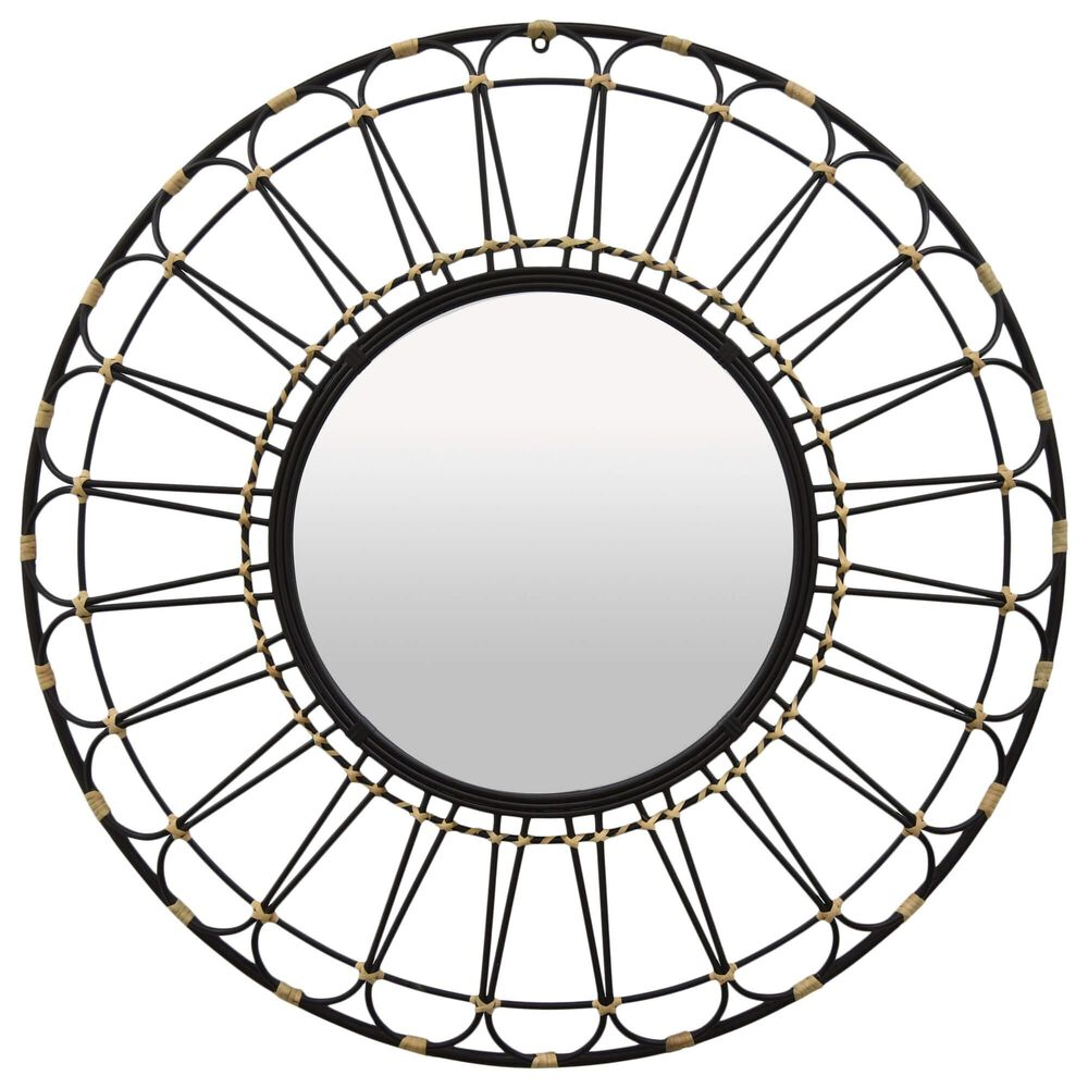 "Three Hands 37"" Metal Round Mirror in Black, , large"