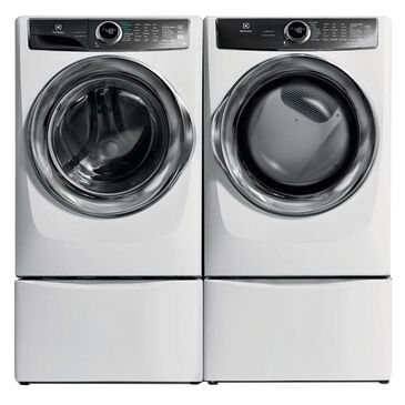 Electrolux 4.4 Cu. Ft. Front Load Washer and 8 Cu. Ft. Gas Dryer with Pedestals - White, , large