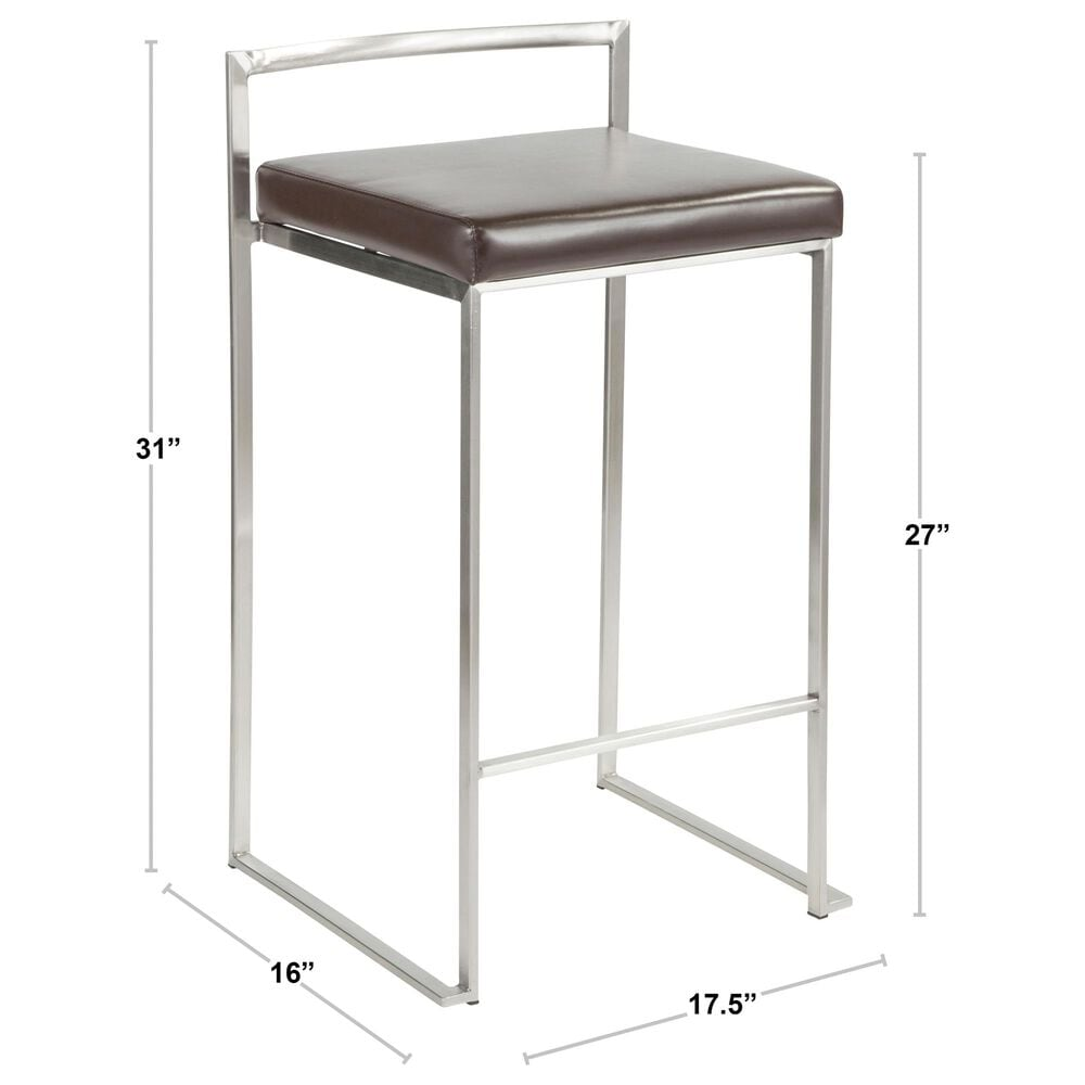 Lumisource Fuji Stackable Counter Stool in White/White/White (Set of 2), , large