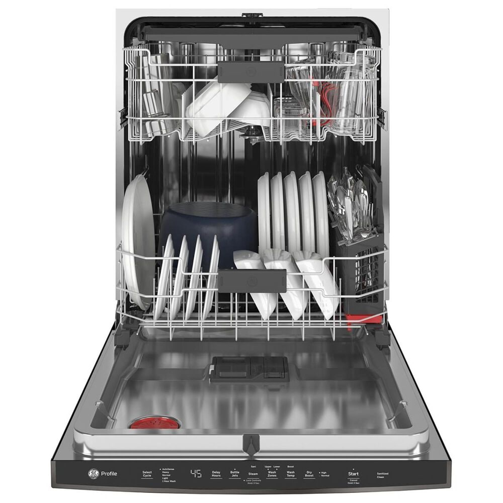 GE Profile Stainless Interior Dishwasher with Hidden Controls in Black Stainless Steel, , large