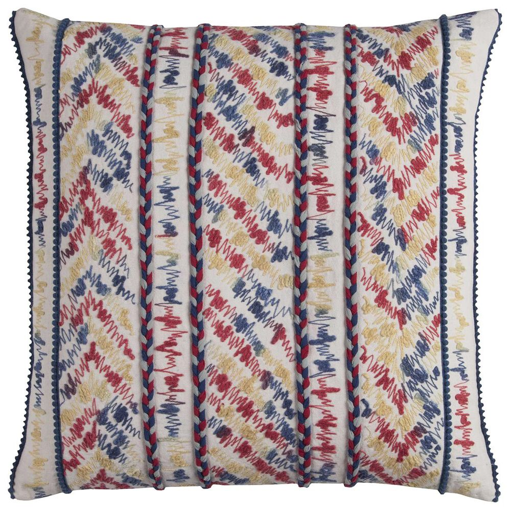 """Rizzy Home 20"""" x 20"""" Pillow Cover in White with Multicolor Chevron, , large"""