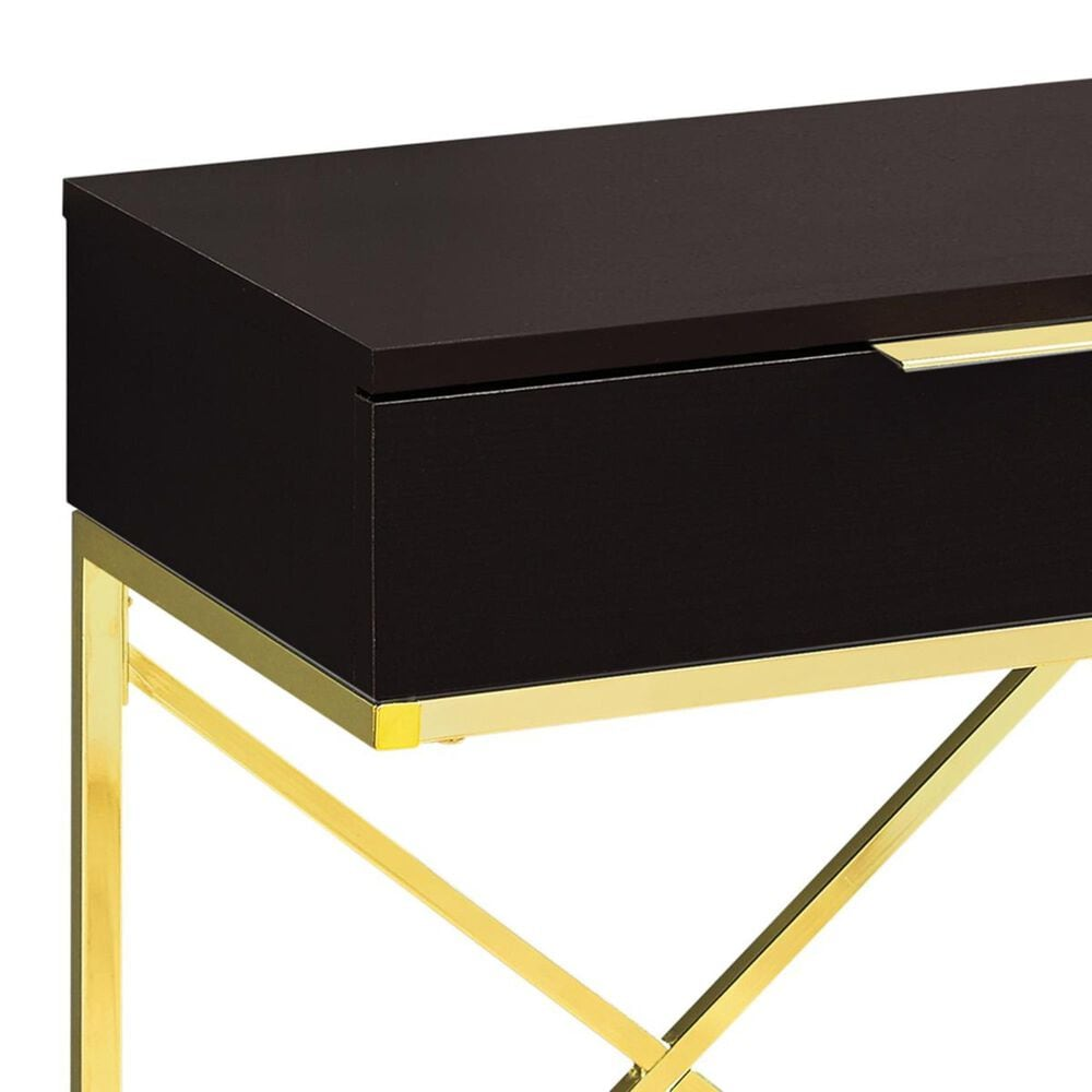 """Monarch Specialties 24"""" Accent Table in Cappuccino and Gold, , large"""
