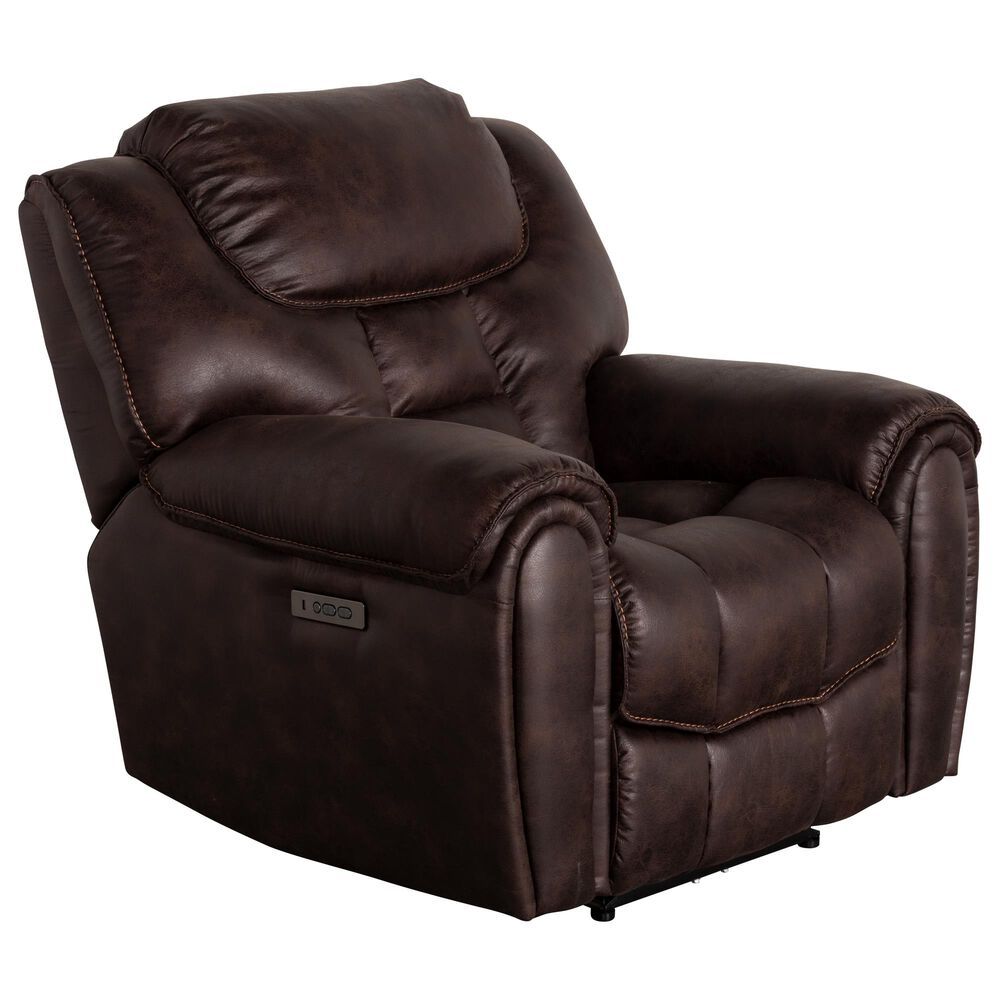 Oxford Furniture Cheers Power Recliner with Power Headrest in Cowboy Dark Brown, , large