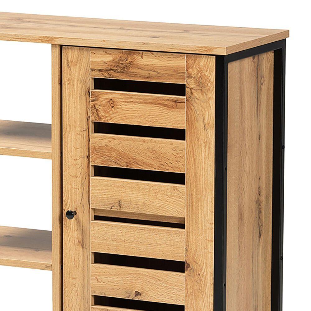 Baxton Studio Vander 1 Door Shoe Storage Cabinet in Oak Brown/Black, , large