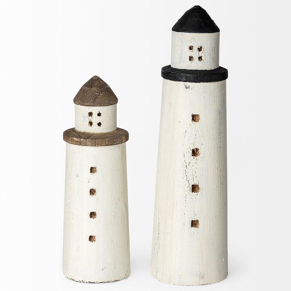 Mercana Abner Large Lighthouse Decor in White and Black, , large
