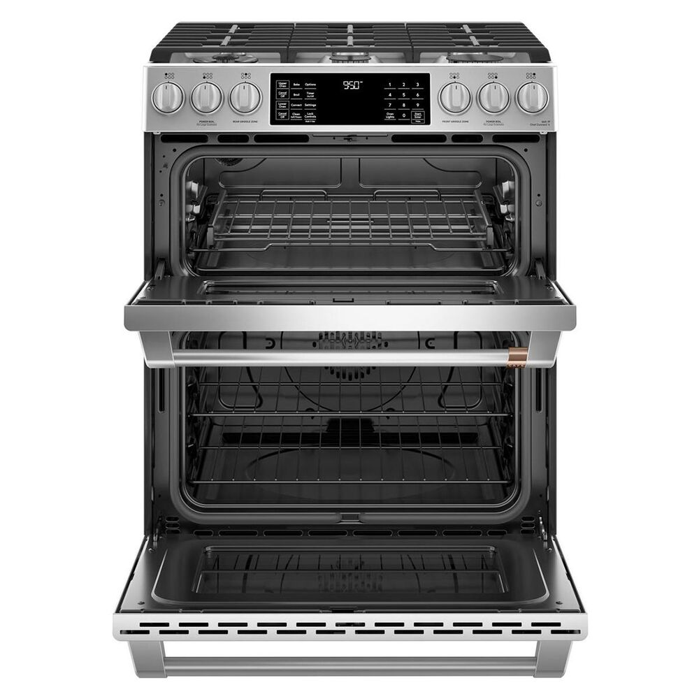 """Cafe 30"""" Slide-In Front Control Dual-Fuel Double Oven with Convection Range in Stainless Steel, , large"""