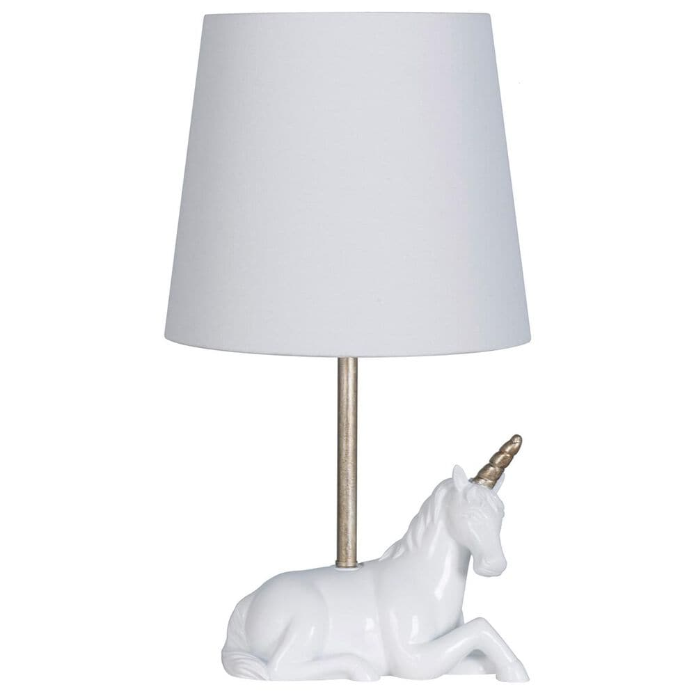 "Lamps Per Se 19"" Unicorn Star Table Lamp in White, , large"