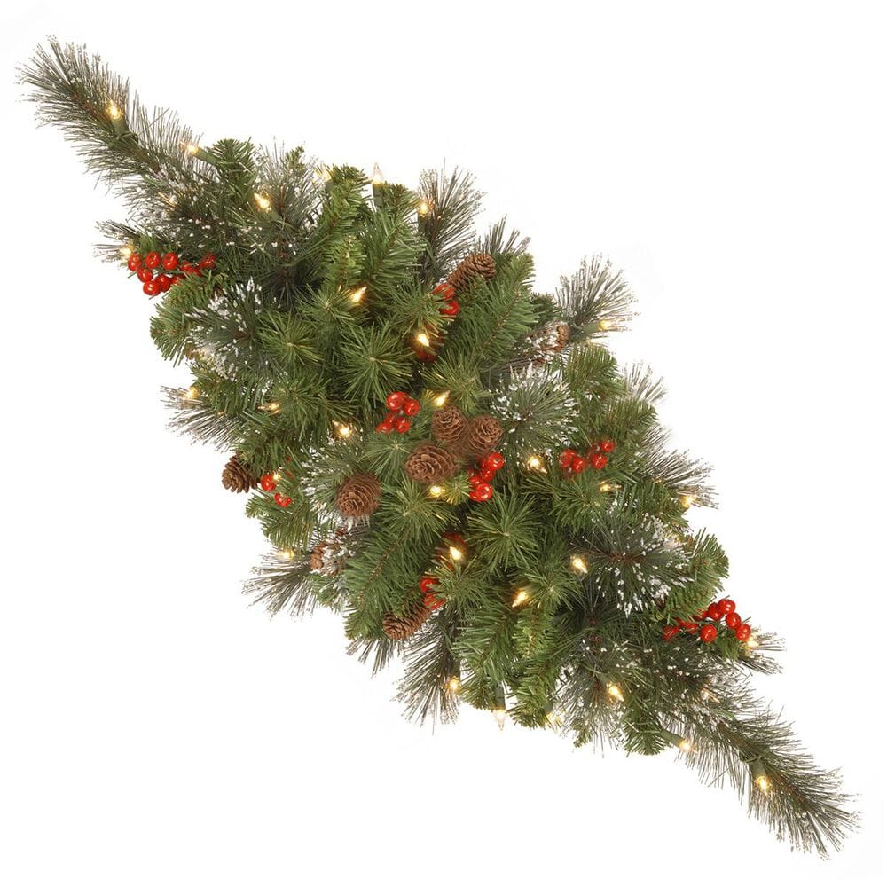 """National Tree 30"""" Crestwood Spruce Centerpiece with Battery Operated Warm White LED Lights, , large"""