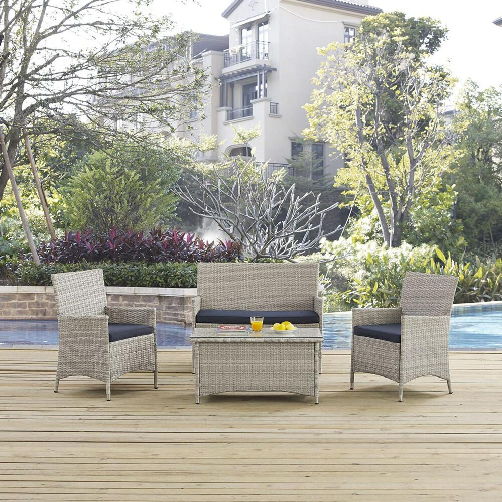Modway Bridge 4-Piece Outdoor Patio Conversation Set in Light Gray and Navy, , large
