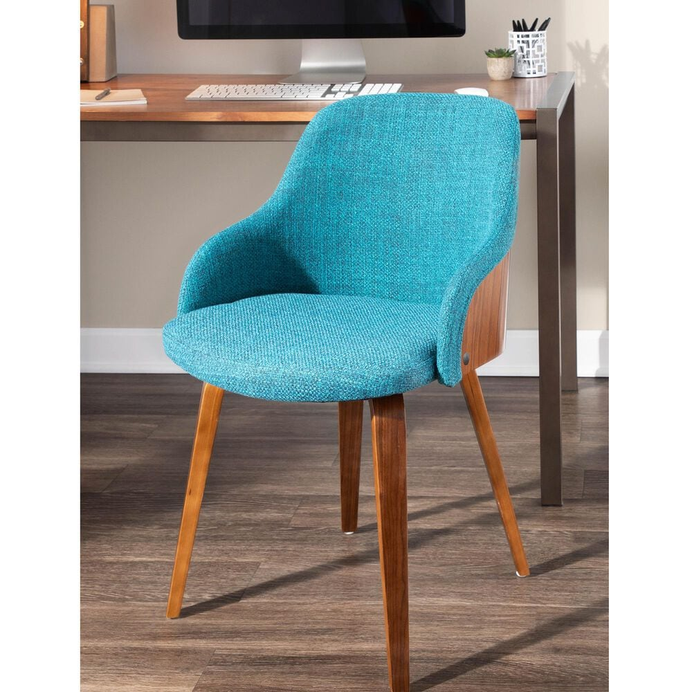 Lumisource Bacci Dining Chair in Teal/Walnut, , large
