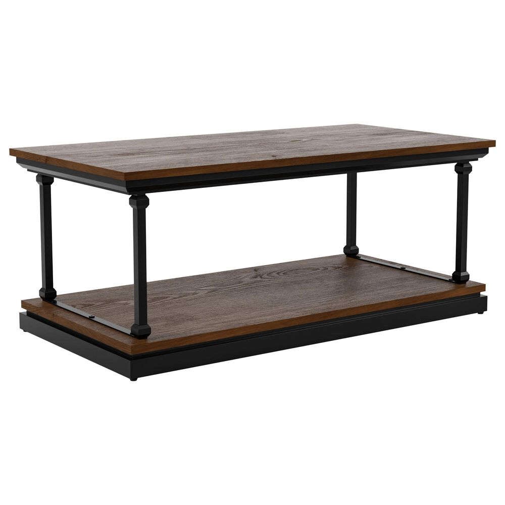 Furniture of America Pollard 2-Piece Coffee Table Set in Dark Oak/Black, , large