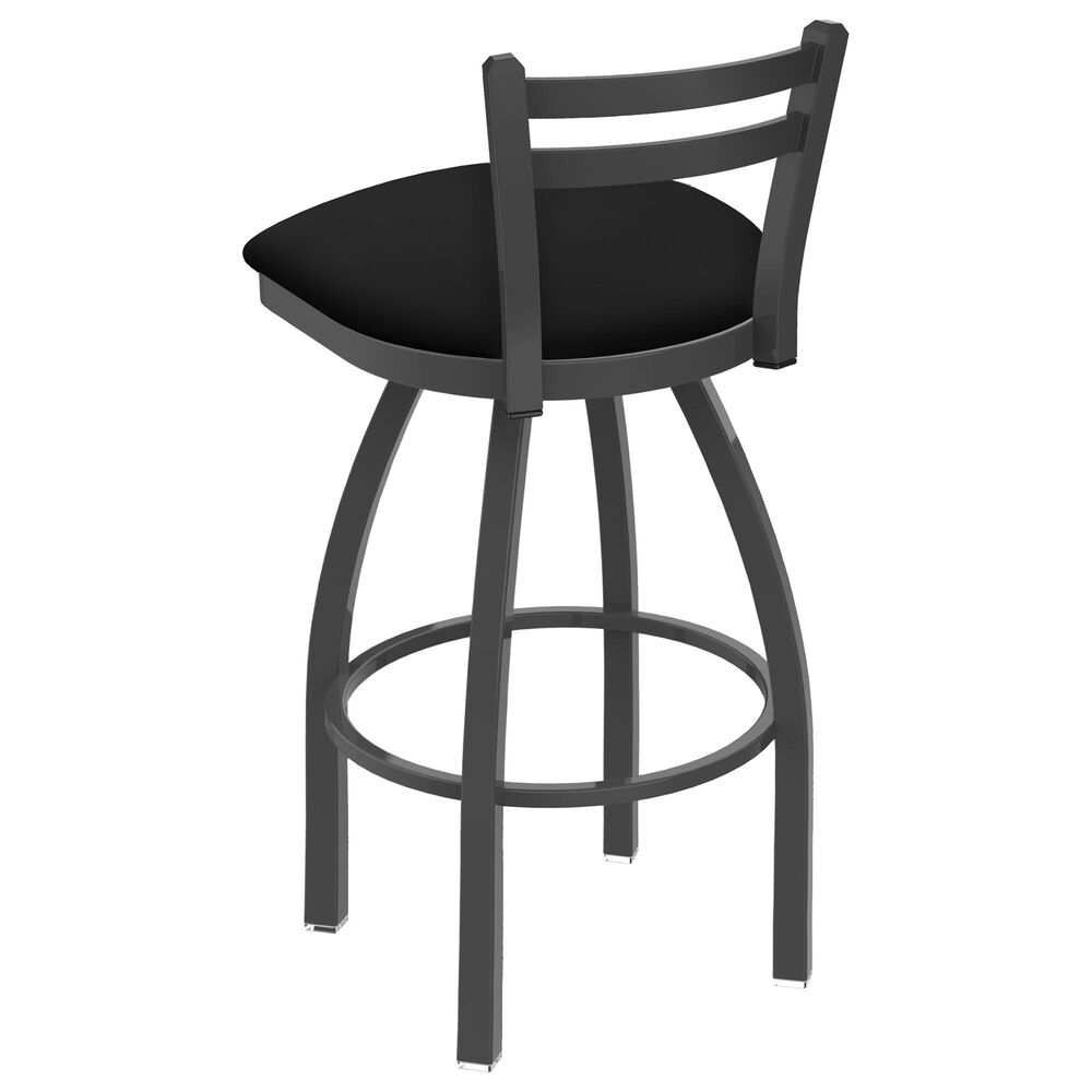 """Holland Bar Stool 411 Jackie 25"""" Low Back Swivel Counter Stool with Pewter and Black Vinyl Seat, , large"""