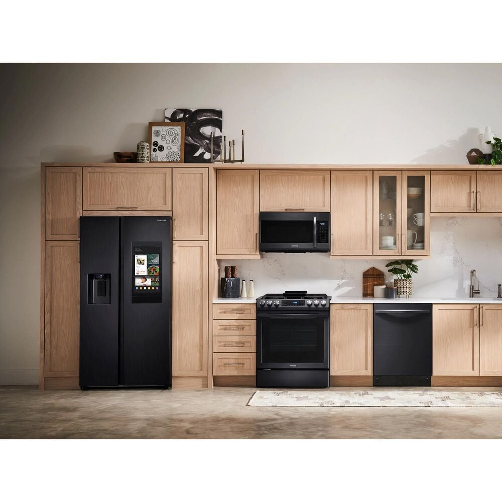 Samsung 4-Piece Kitchen Package with 22 Cu. Ft. Side-by-Side Refrigerator and Gas Range in Black Stainless Steel, , large