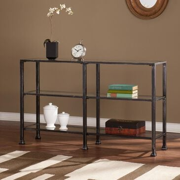 Southern Enterprises Metal/Glass 3-Tier Console Table in Distressed Black, , large