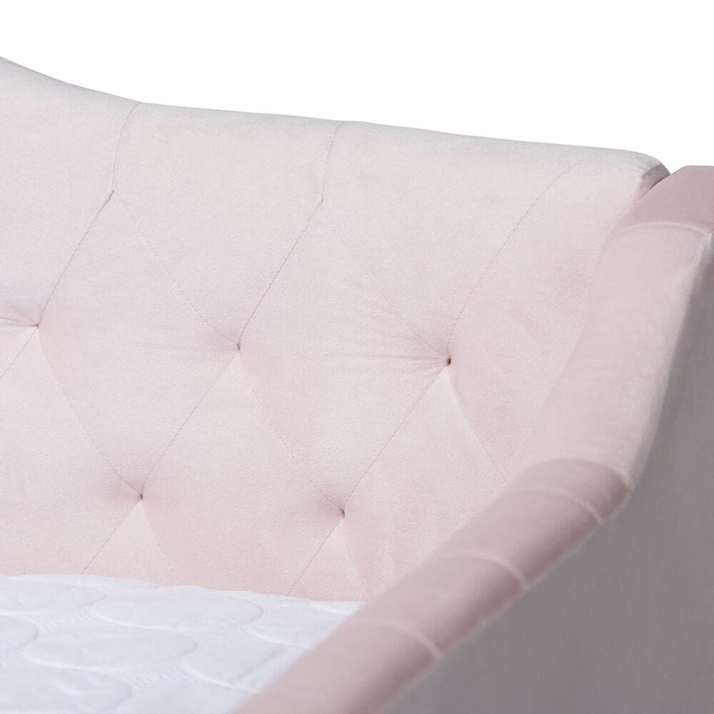 Baxton Studio Perry Queen Daybed with Trundle in Pink, , large