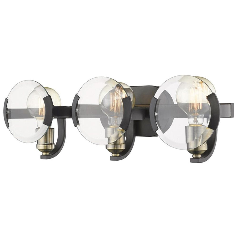 Golden Lighting Amari 3-Light Bath Vanity in Black with Aged Brass Accents, , large