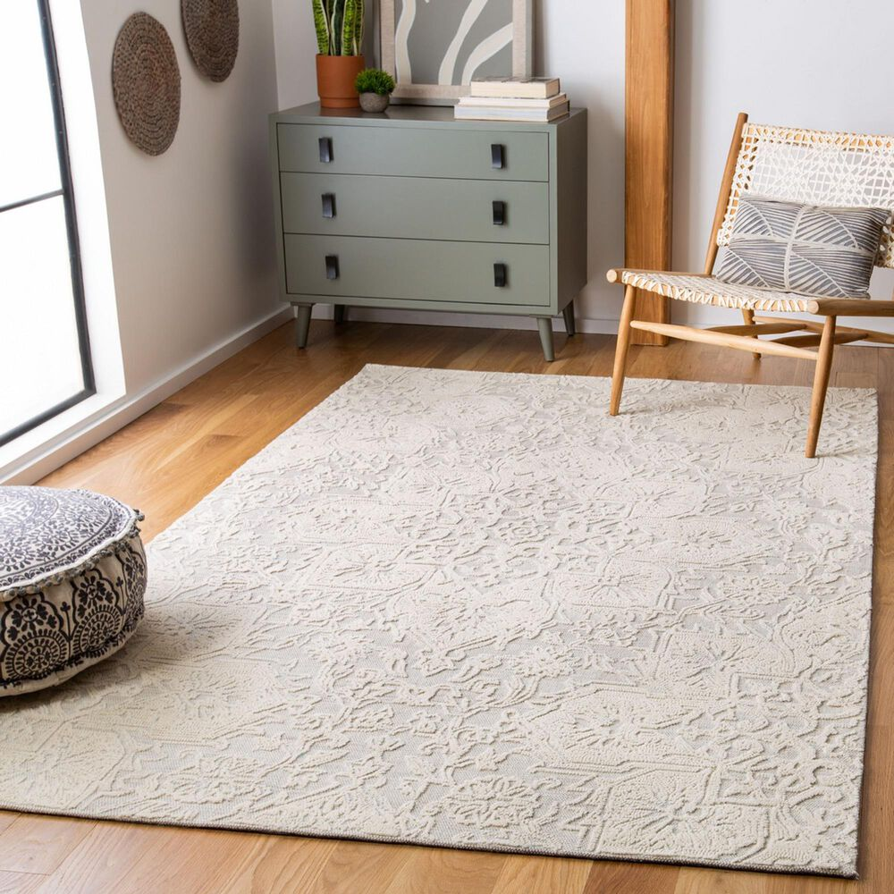 Safavieh Abstract ABT958A 4' x 6' Ivory and Beige Area Rug, , large