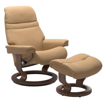 Ekornes Sunrise Recliner and Ottoman in Paloma Sand and Walnut, , large