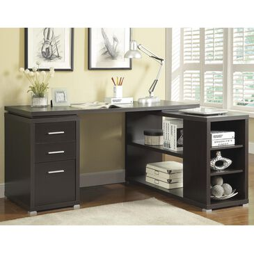 Pacific Landing Yvette L-Shape Computer Desk in Cappuccino, , large