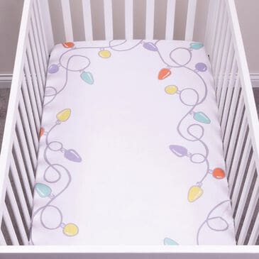 Trend Labs Holiday Lights Photo Op Fitted Crib Sheet in White, , large