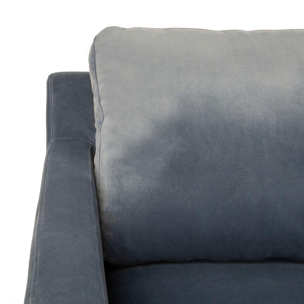 Safavieh Brayson Sectional Chaise Sofa in Dusty Blue Velvet, , large