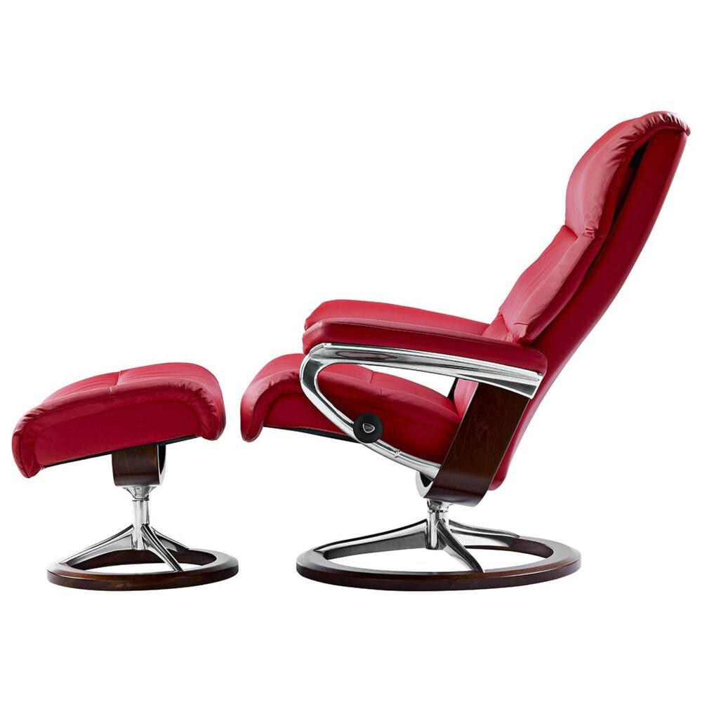 Ekornes Medium Chair and Ottoman with Brown Signature Base in Paloma Tomato, , large