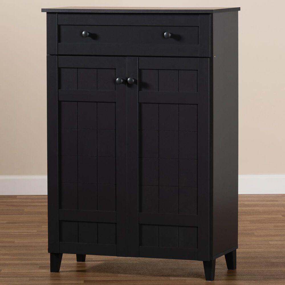 Baxton Studio Glidden 5-Shelf Shoe Storage Cabinet with Drawer in Gray, , large