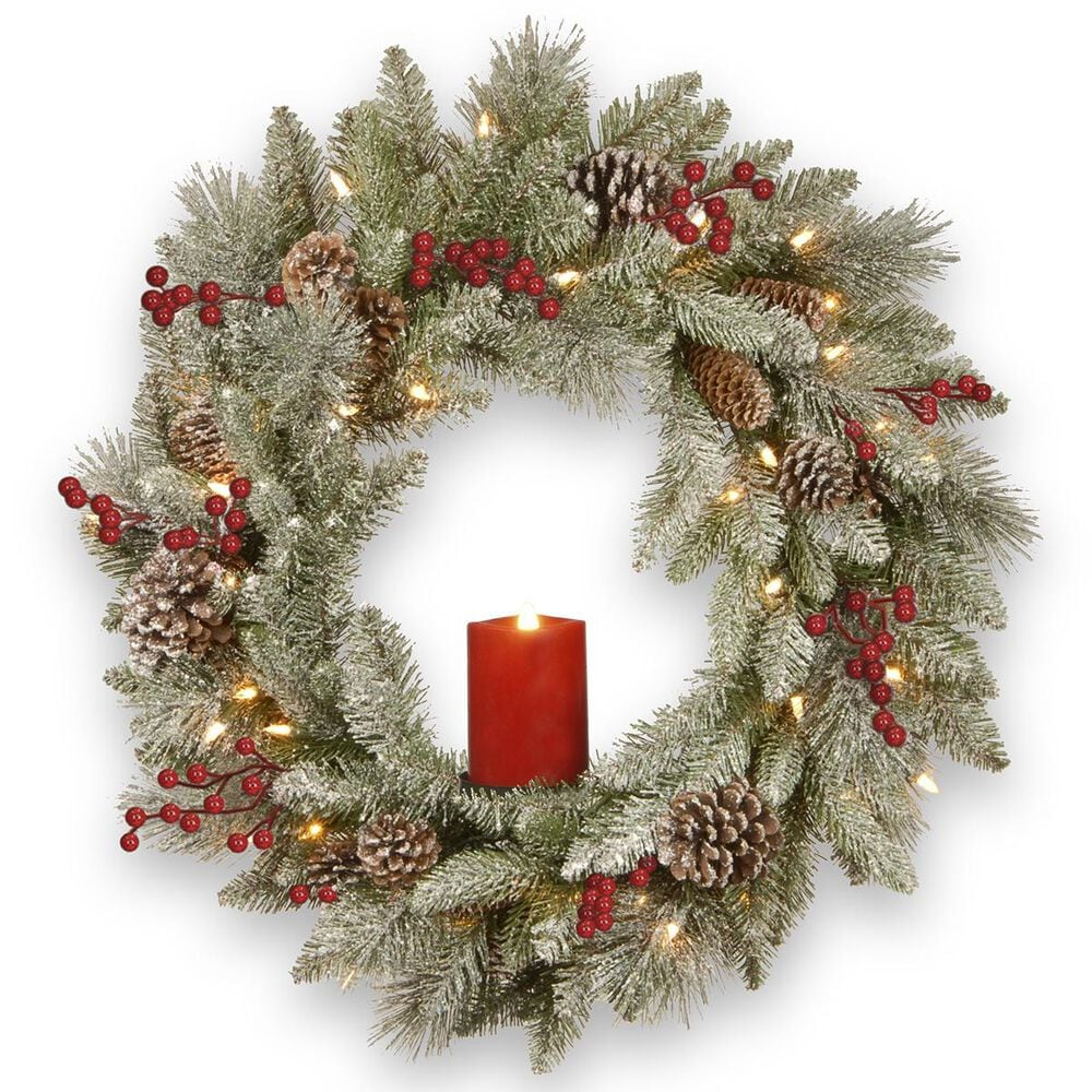 """National Tree 24"""" Battery Operated Snowy Bristle Berry Wreath with Single Candle, , large"""