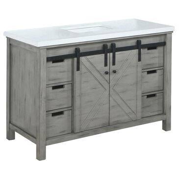 """Lexora Home Marsyas 48"""" Single Bathroom Vanity in Ash Grey with White Quartz Top and Rectangle Sink, , large"""