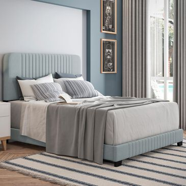 Accentric Approach Full Upholstered Bed in Blue, , large