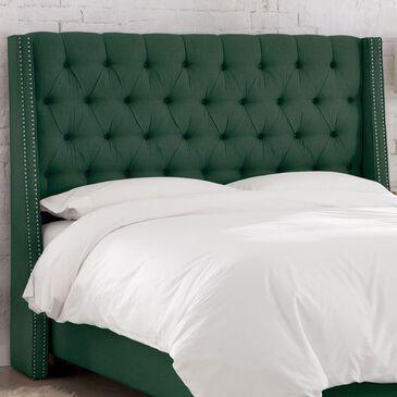 Skyline Furniture Twin Wingback Headboard in Linen Conifer Green, , large