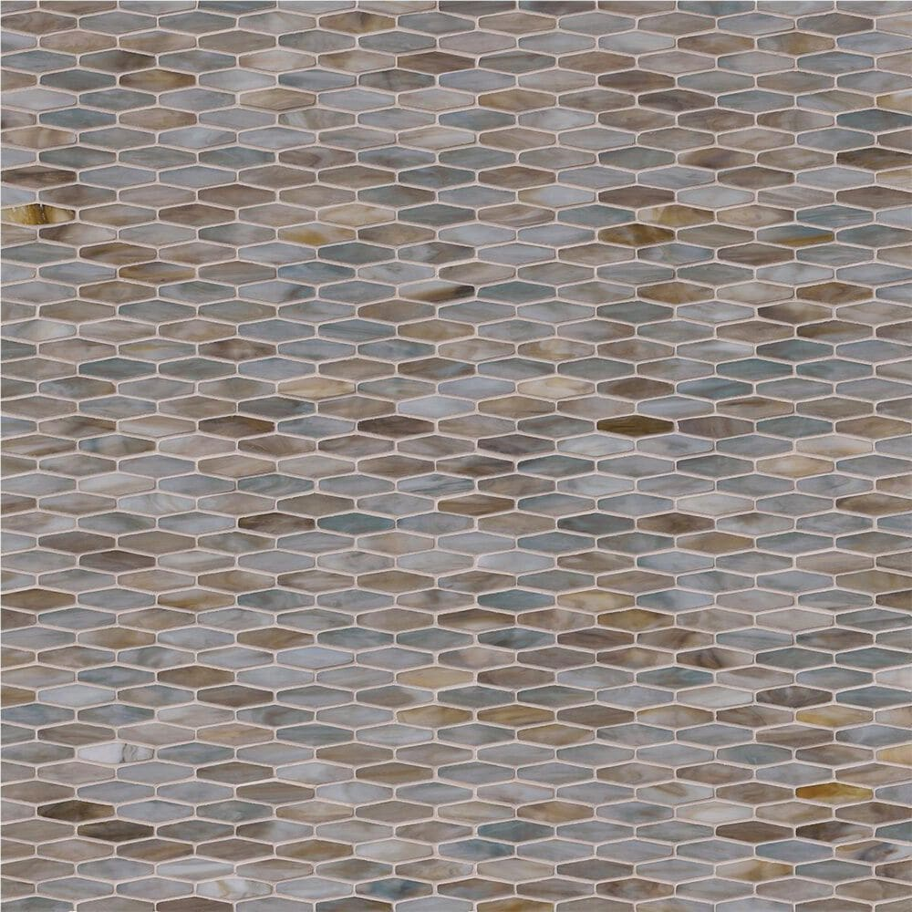 "MS International Mochachino Taupe 12"" x 12"" Hexagon Glass Mosaic Sheet, , large"