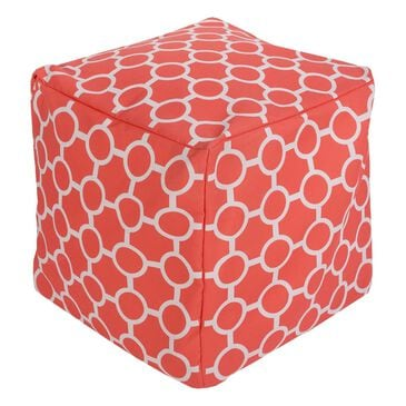 Surya Inc Surya Poufs Cube Pouf in Coral and Light Gray, , large