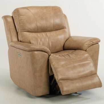 Flexsteel Cade Leather Power Recliner with Power Headrest in Sand, , large