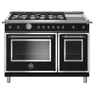 """Bertazzoni 48"""" Gas Range with 6 Brass Burners and Griddle in Matte Black, , large"""