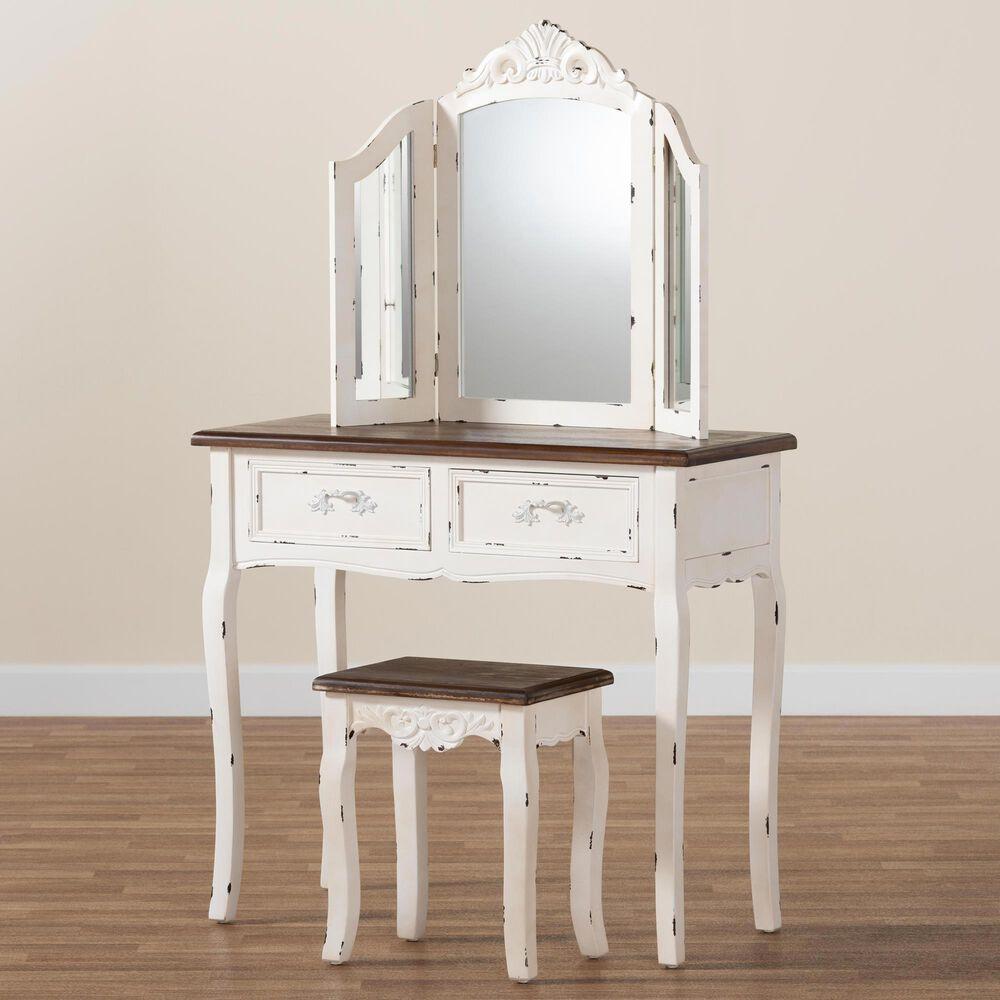 Baxton Studio Levron 2 Piece Vanity Set in Walnut Brown/White, , large