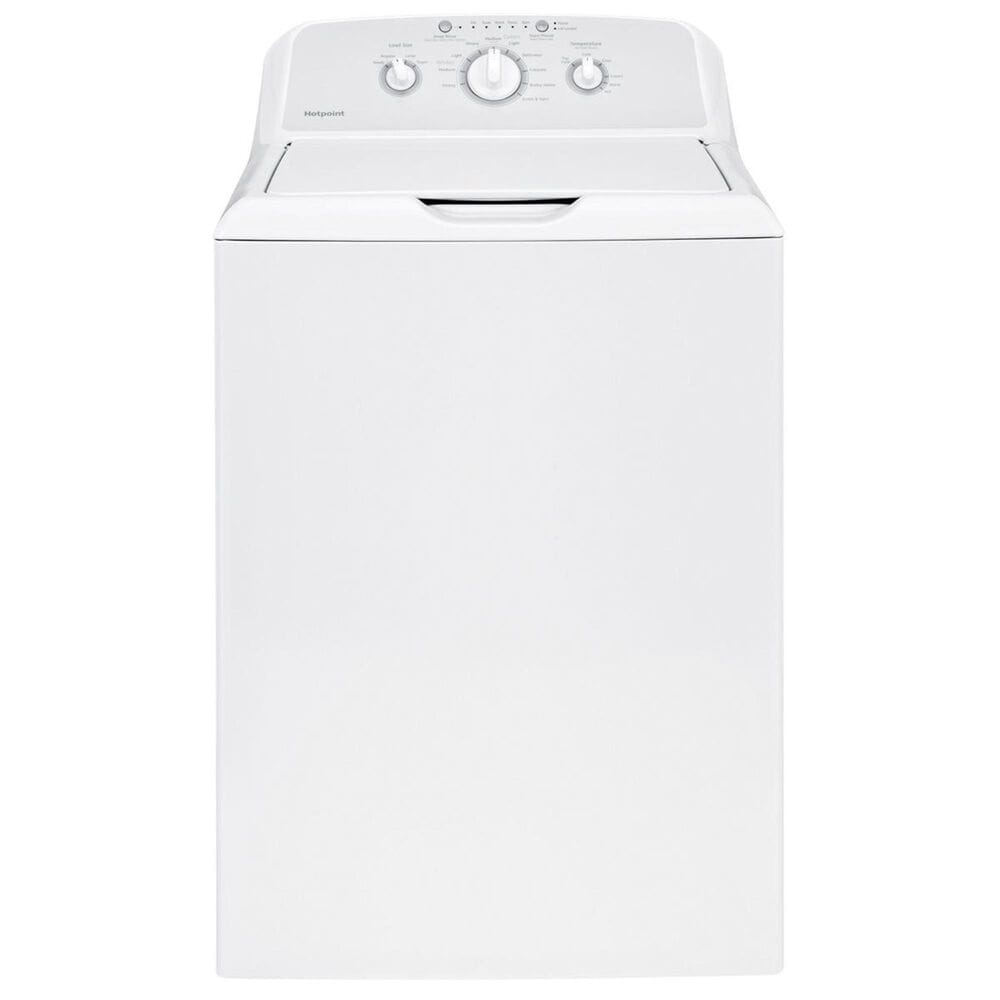 Hotpoint 3.8 Cu. Ft. Top Load Washer and a 6.2 Cu. Ft. Electric Dryer in White, , large