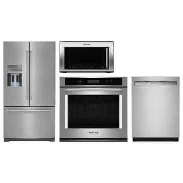 """KitchenAid 4-Piece Kitchen Package with 26.8 Cu. Ft. French Door Refrigerator and 30"""" Single Wall Oven in Stainless Steel, , large"""